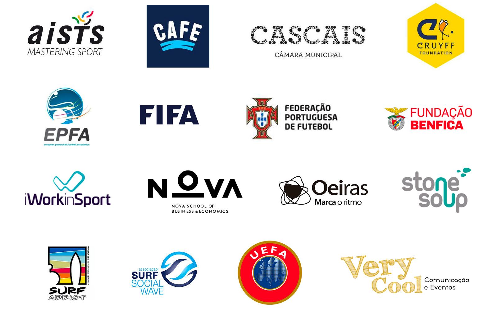 FFALP partners logos: aists, CAFE, City of Cascais, Johan Cruyff Foundation, EPFA, FIFA, Portuguese FA, Benfica Foundation, iWorkinSport, Nova SBE University, City of Oeiras, Stone Soup Consulting, Surf Addict Adapted Surf Association, Surf Social Wave, UEFA and Very Cool Events