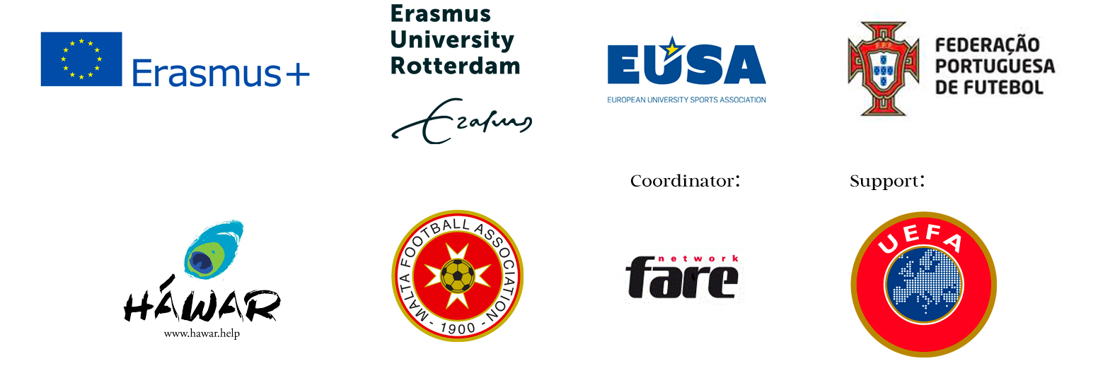 iFlipp partners logos: Erasmus+, Erasmus University Rotterdam, European University Sports Association, Federação Portuguesa de Futebol, Hawar Help, Malta Football Association. Coordinator: Fare Network. Support: UEFA.