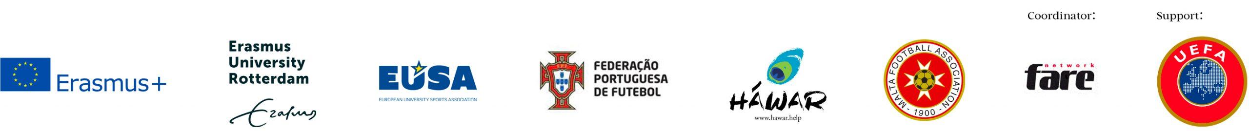 iFlipp partners logos: Erasmus+, Erasmus University of Roterdam, Portuguese FA, Hawar.Help, Malta Football Association, Fare Network (coordinator), UEFA (supporter)