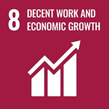 UN SDG number 8 Decent Work and Economic Growth logo