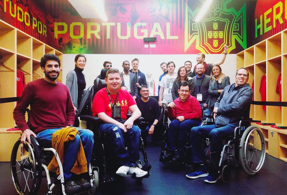 Football For All Leadership Programme class of 2018 at the Portuguese Football Association national team dressing room