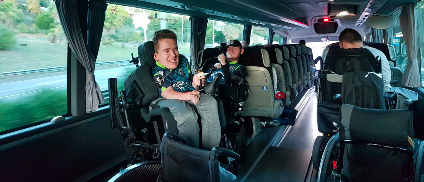 Football For All Leadership Programme 2019 participants who are wheelchair users on a bus