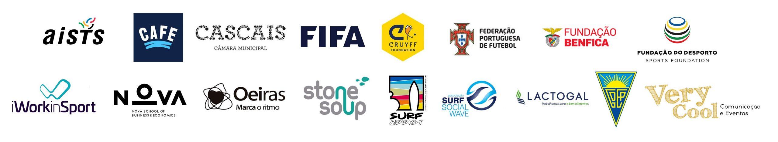 FALP partners logos: aists, CAFE, City of Cascais, Johan Cruyff Foundation, FIFA, Portuguese FA, Benfica Foundation, iWorkinSport, Nova SBE University, City of Oeiras, Stone Soup Consulting, Surf Addict Adapted Surf Association, Surf Social Wave, Estoril Praia SAD and Very Cool Events